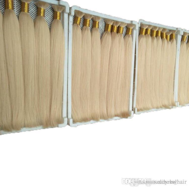 Gerade blonde Farbe Groß Menschliches Haar für flicht peruanische Haar-Verlängerungen Keine Befestigung Freie Sheddingfree Gewirr Welle, 100g ein Lot