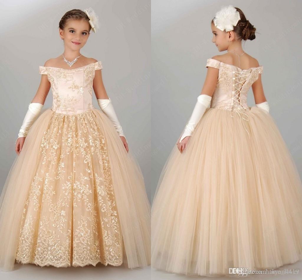 Vestidos baratos para niñas de flores para la boda del hombro lleno de encaje Champagne Princesa Niños para el vestido de fiesta de cumpleaños Vestidos de niña barata