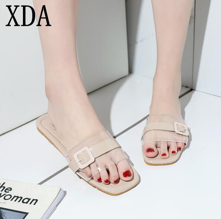 XDA New 2019 Slippers Women Flat Sandals PVC Fashion Summer Beach Flip Flops Ladies Shoes Transparent crystal Slipper