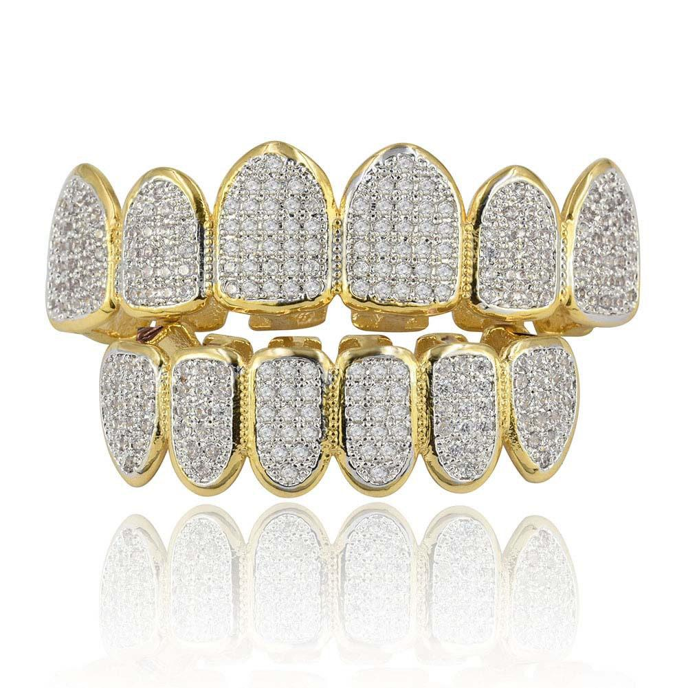 Hip Hop Grillz Hombres Mujeres Street Fashion Grade Quality Bling Zirconia Micro Paved Dientes Brackets Lujo 18K Gold Plating Copper Grills dentales