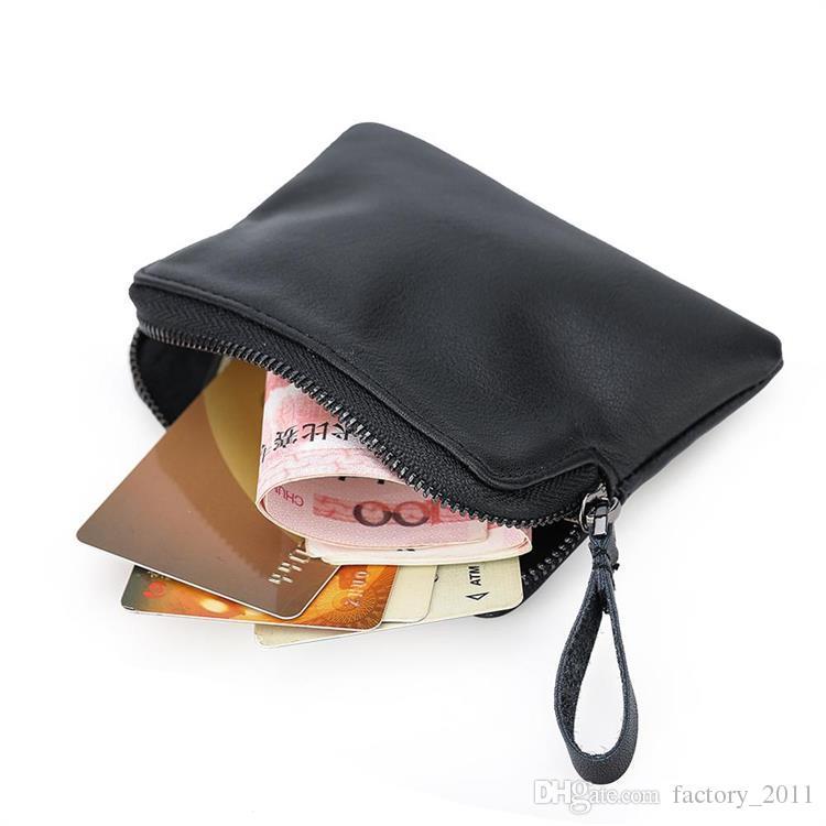 남자 미니 지갑 가죽 작은 크기 머니 클립 지갑 정품 가죽 작은 지갑 지퍼 동전 지갑 신용 카드 케이스 현금 클립 LX9111
