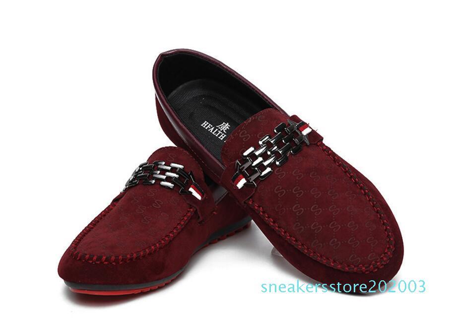 Luxus Freizeit Wohnungen zufälligen Männer Designer-Schuhe Veloursleder Metallschnalle Hochzeit Schuhe Mode Sneaker Herrenschuhe große Größe Faulenzer s03
