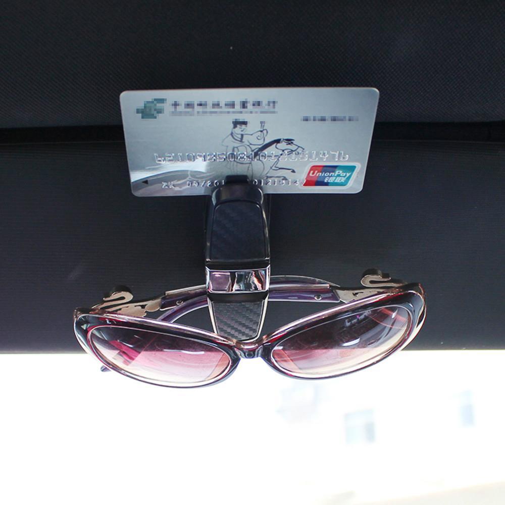 New Car Sun Visor Sunglasses Holder Clip Universal Black Ticket Card Clamp Fastener Cip Car Glasses Cases Portable (Retail)