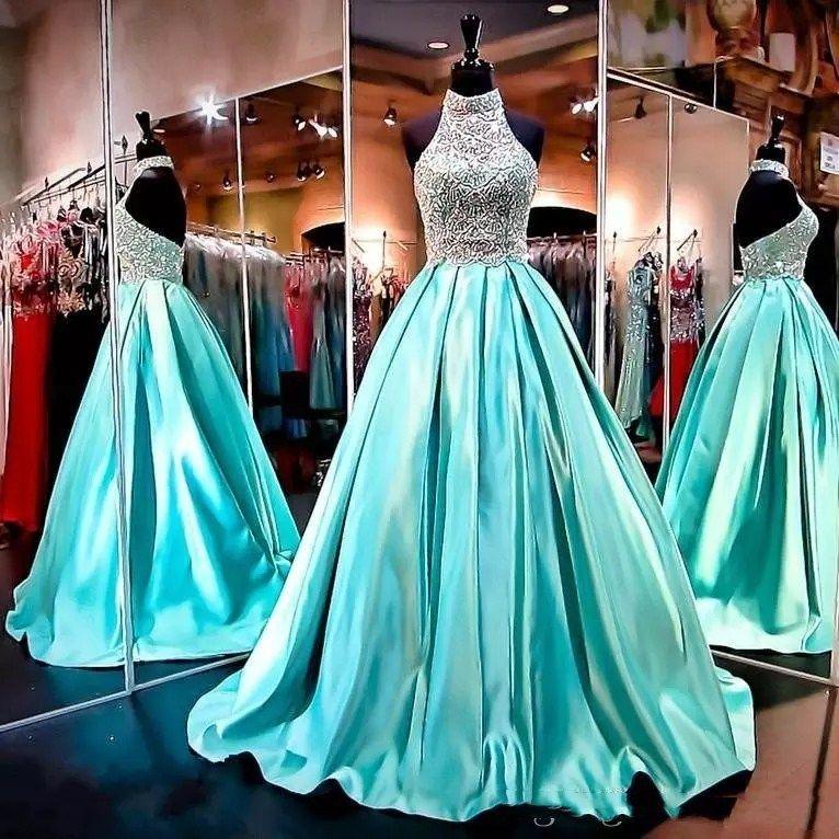 2019 Bling Perlen Prom Kleider Halter Illusion Kristall Perlen Satin Türkis Mint Backless Sweep Zug Formale Party Kleid Abendkleider