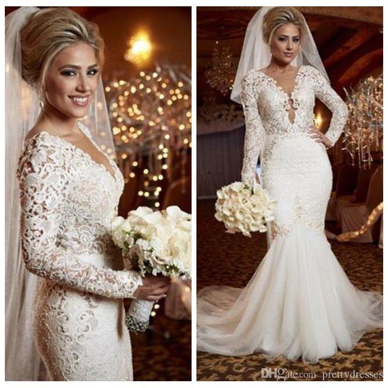 아름 다운 레이스 긴 소매 인어 웨딩 드레스 슬림 신부 가운 2019 맞춤 온라인 공식적인 Vestidos de 결혼 중동 진주