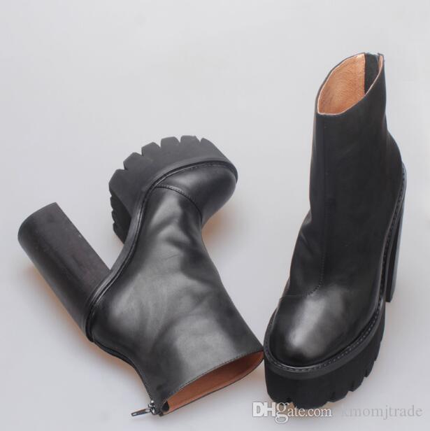 Frau echtes Leder Jeffrey Mulder Booties Black Fashion Catwalk Campbell Mulder Plattform Ferse Stiefel Neue Schuhe