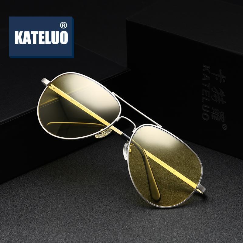 Kateluo glasses желтый автомобиль 2020 солнцезащитные очки ночь антибликовым пилотом 0922 очки зрение вождения женщин мужские очки для поляризованного SPPVT