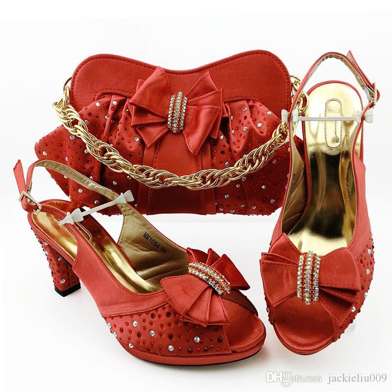 Mode Coral pompes à main match Les femmes avec des chaussures habillées style noeud papillon en strass africains et sac ensemble MM1094, talon 9cm