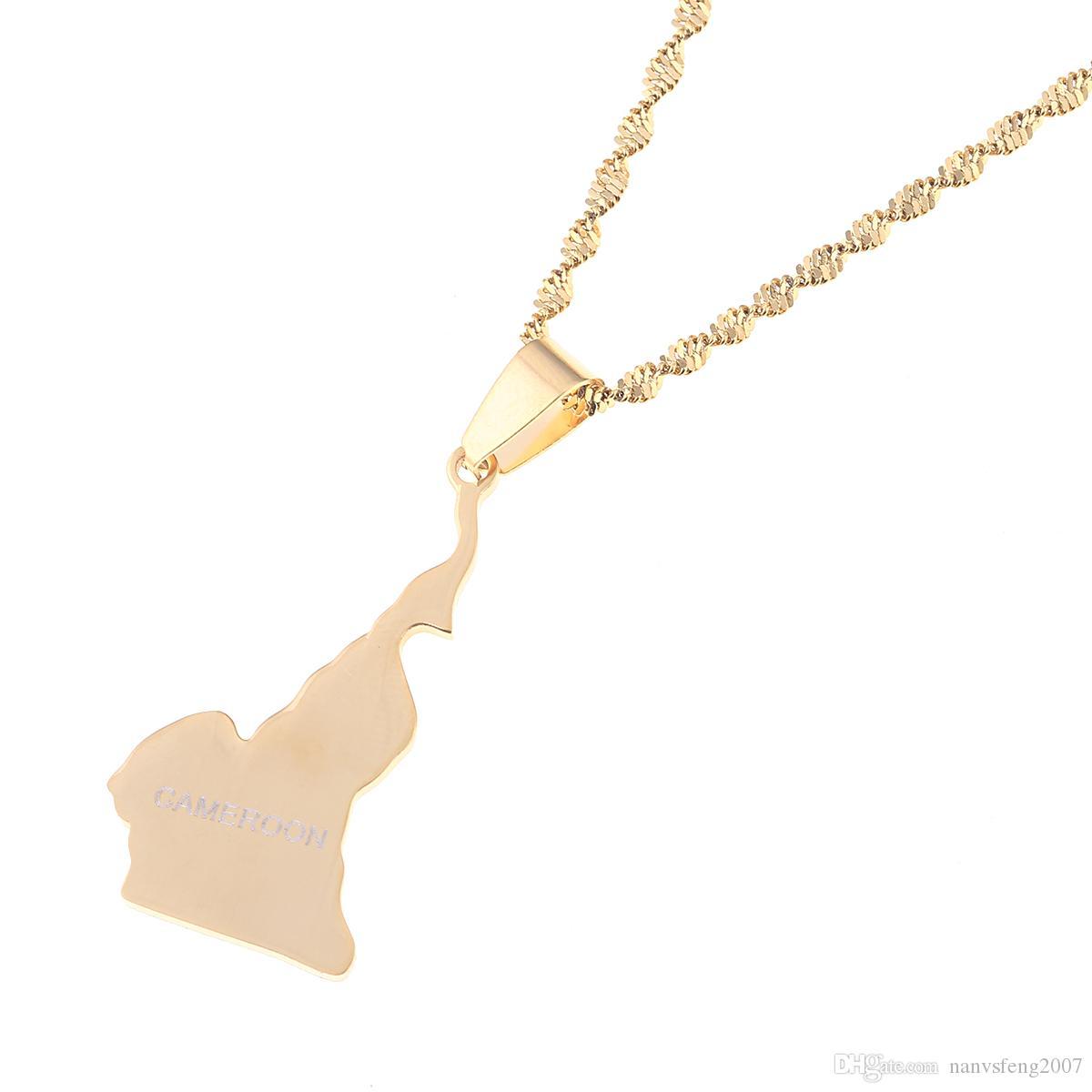 Stainless Steel R/épublique du Cameroun Map Pendant Necklace Douala Yaounde Cameroon Map Chain Jewelry