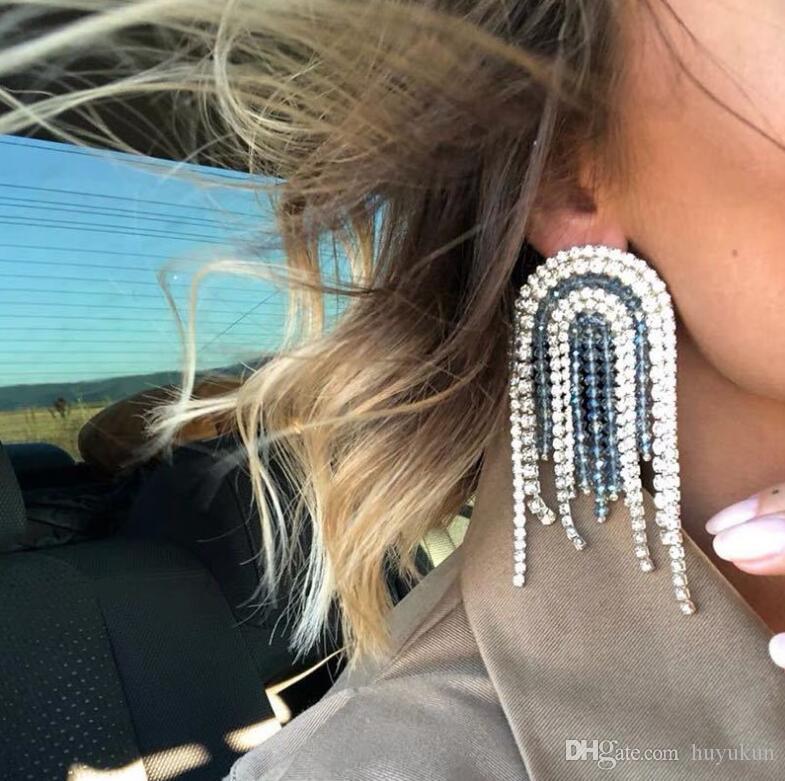 2019 Fashion earrings New High grade Stylish red Blue green crystal beads Streamlined Tassel Long Earrings Women Girl Jewelry Pendante Femme