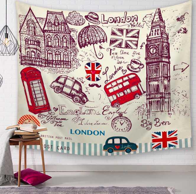 빈티지 I 사랑 런던 장식 태피스트리 욕실 야외 가구 및 장식용 벽걸이 시트 피크닉 천 홈 인테리어 식탁보