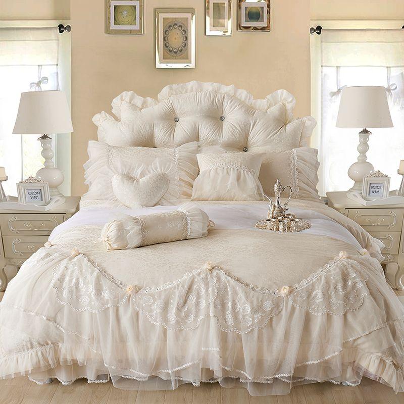 Algodão Jacquard Lace Princess Cama Set Conjuntos de Casamento Conjuntos Queen King Size Bedlinen Folha Boho Duvet Cobertura Set Bedclothes