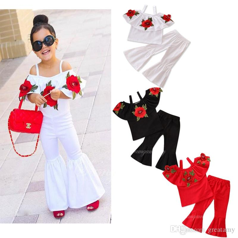 Fashion toddler kids suit baby girls rose flower sling tops + bell-bottom trousers 2pcs/lot children clothes set