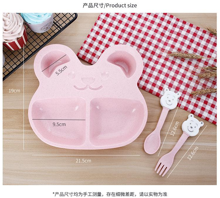 3Ps / set bol d'entraînement service de table pour enfants plat de paille de blé mignon bébé ensemble bol enfants plaques