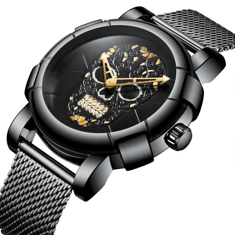 BIDEN Relogio Masculino новое прибытие мужские часы мода череп кости дизайн черный циферблат спортивные наручные часы из нержавеющей стали сетка группа водонепроницаемый