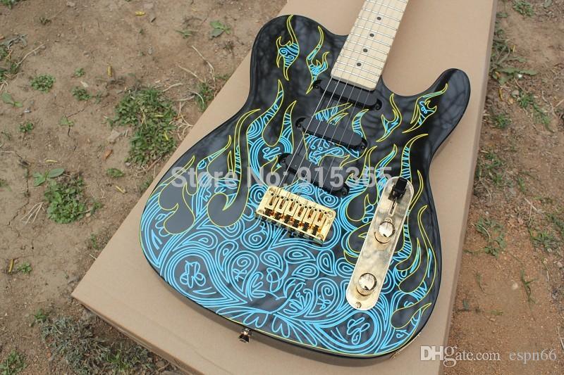 Venda QUENTE atender SSS pick-up Artista Série James Burton Telecaster Guitarra Elétrica na guitarra preta com chama azul