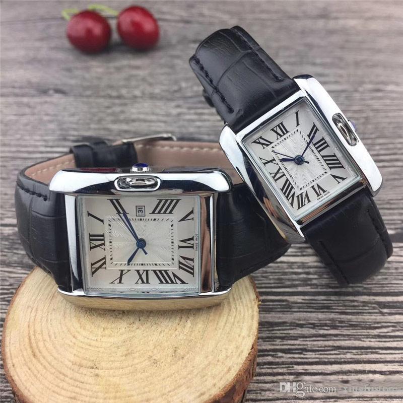 Yeni Çift Lüks kadın erkek Mens Bayanlar iyi Sevgililer hediye relógios için Moda deri kayış Altın Kuvars Klasik Bilek izlemek saatler