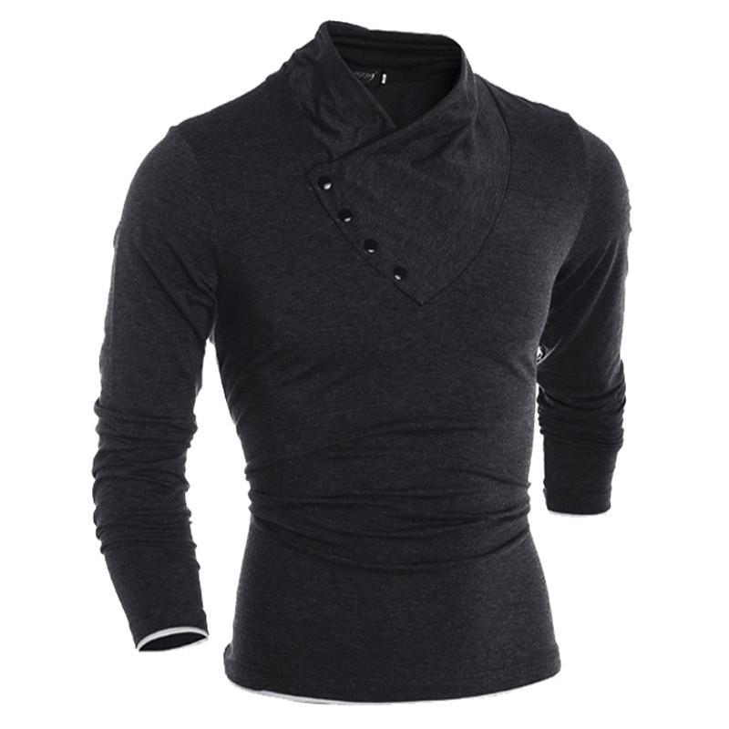 Solid Color Designer Mens diagonale del tasto di collare casuale dimagrisce le camice T Moda PoloT camicia Maschio Abbigliamento
