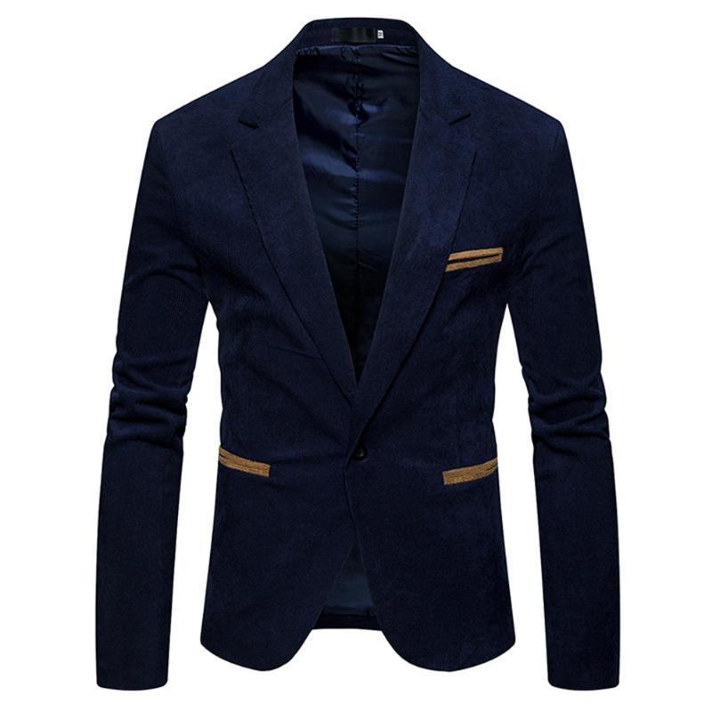 JODIMITTY Erkekler Coats Erkekler Kadife Ceket Blazer adam Katı İnce Uzun Kollu Ceket erkek tek düğme blazer ceketler Winter Tops