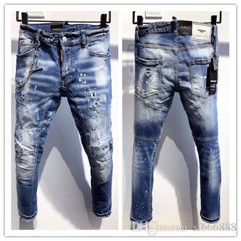 2020 Neue Marke der modischen europäischen und amerikanischen Männer Lässige Jeans, hochwertiges Waschen, reines Handschleifen, Qualitätsoptimierung 9707