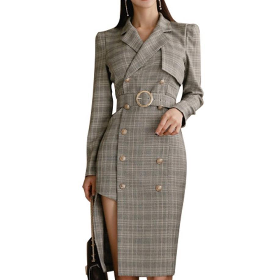 Nuova signora dell'ufficio 2019 donne di autunno doppio petto lungo Blazers collare soddisfare Blaser lungo cappotto manica irregolari Blazers