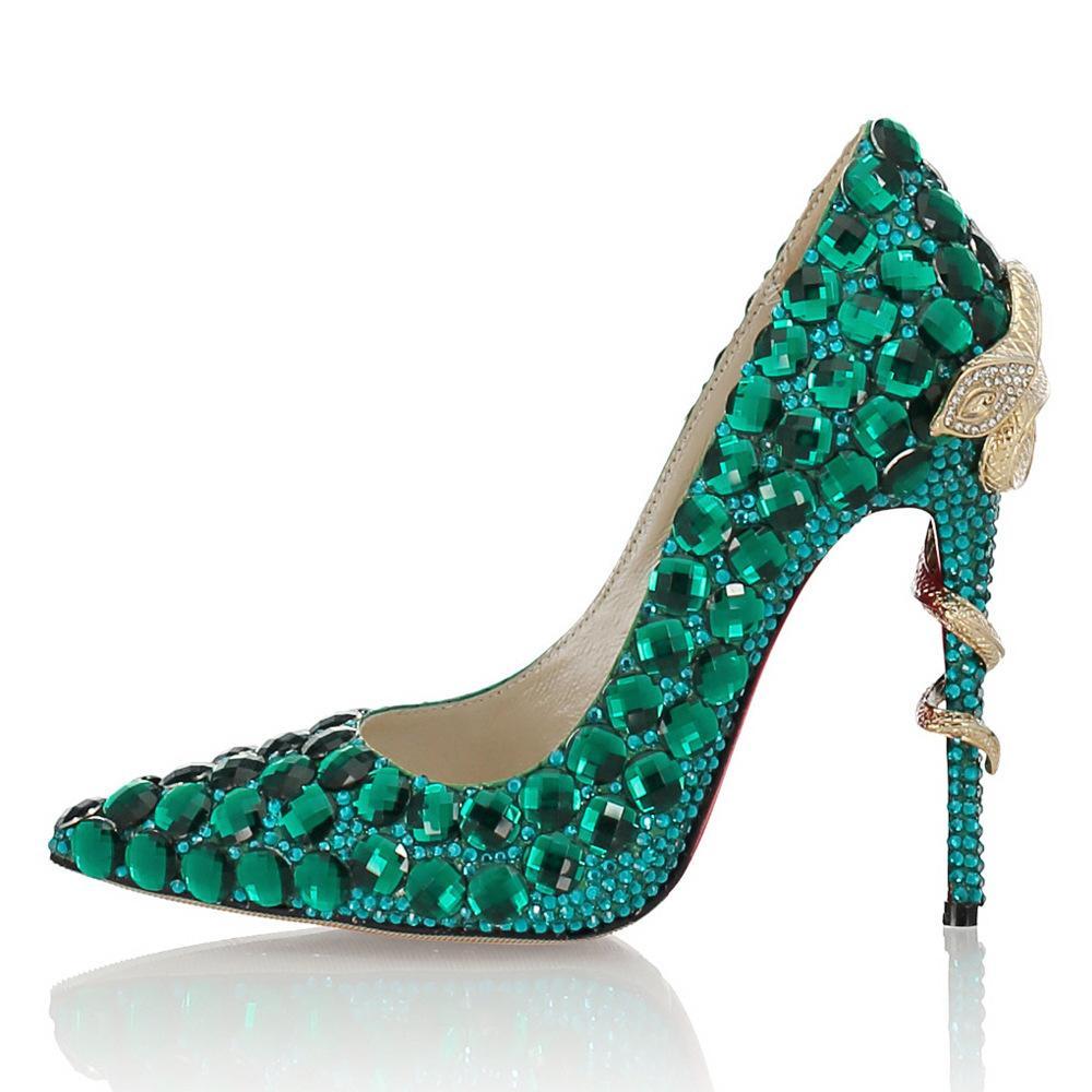 11CM Luxury Design Mode Hauts talons en verre de couleur diamant Robe de mariée talon haut point Couleur Taille 34-41 Sheepskin