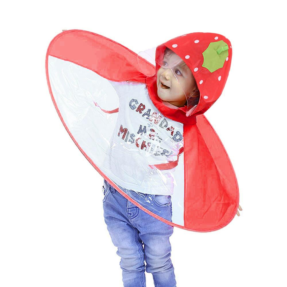 Lovely Strawberry Umbrella Hat Cute Rain Coat UFO Niños Round Umbrella Hat Magical Hands Free Chubasquero Niños Niña