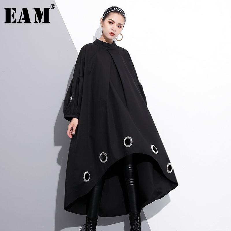 Повседневные платья [EAM] 2021 весенний круглый шеи с длинным рукавом сплошной цвет черный металлический кольцо большого размера, полые платье платье женщины модный прилив Je29201