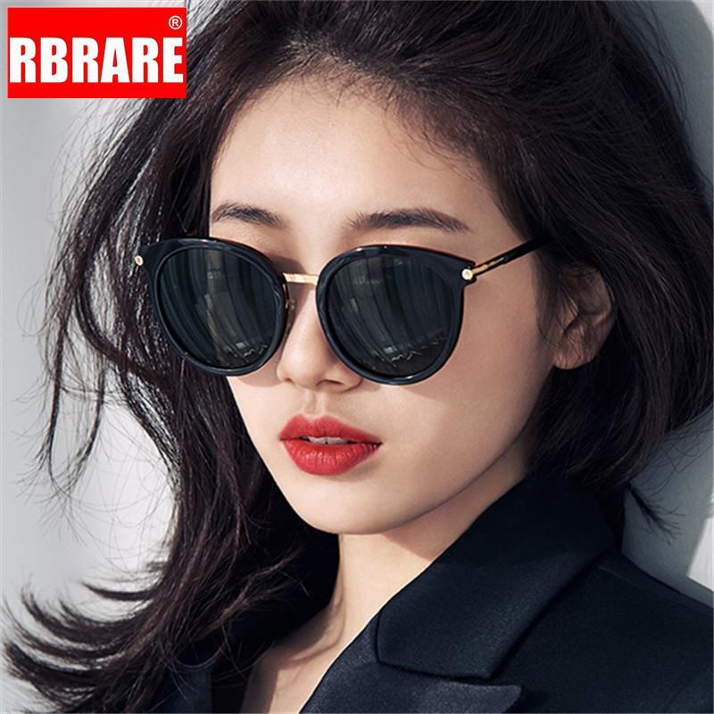 RBRARE Metall Runde Sonnenbrille Frauen Vintage schwarze Damen-Sonnenbrillen Spiegel-Objektiv-Sonnenbrille Lunette Soleil Femme