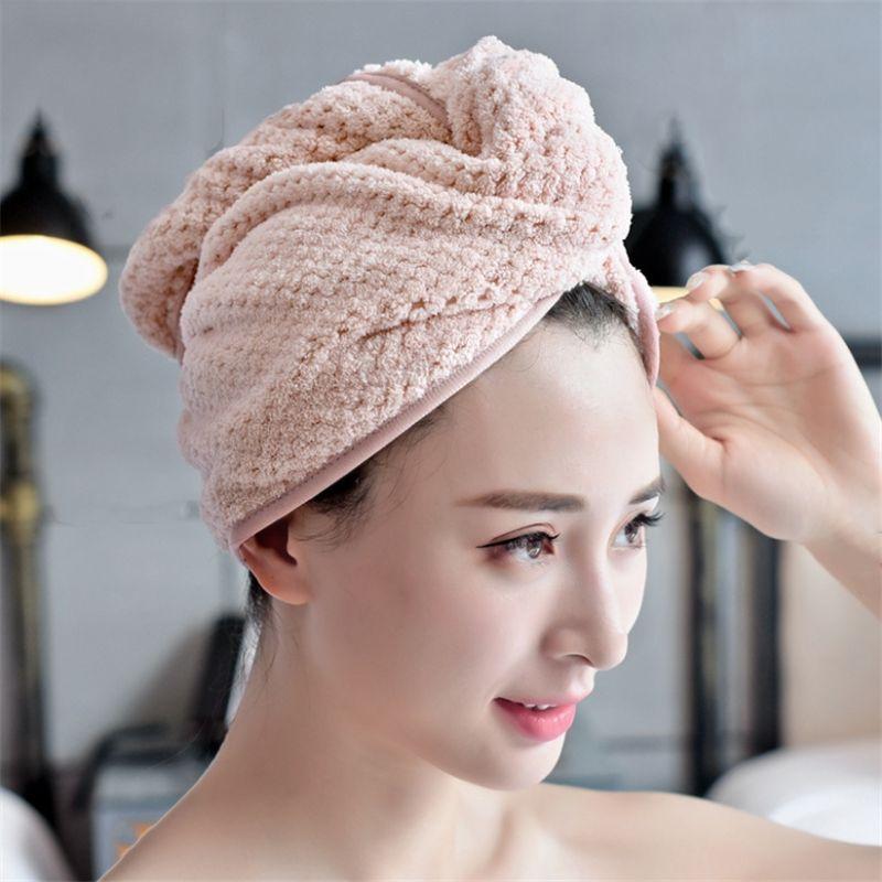 Factory Wholesale New Coral Fleece Dry Hair Towel Cap Adult Absorbent Long Hair Toe Cap Wipe Hair Quick Drying Female Cute Shower Cap