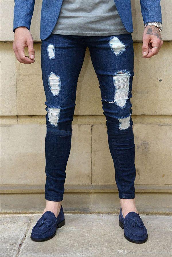 дизайнерские брюки 2018 Мода мужские узкие джинсы мужские обтягивающие сплошной цвет изношенные джинсовые брюки для продажи