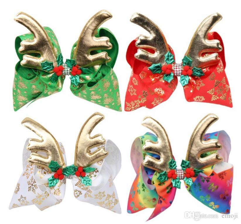 Nuovo Jojo Siwa archi dei capelli dei bambini 8inch del grande arco di Natale tornante staghorn arco deformato con trapano ragazza della forcella dell'arco