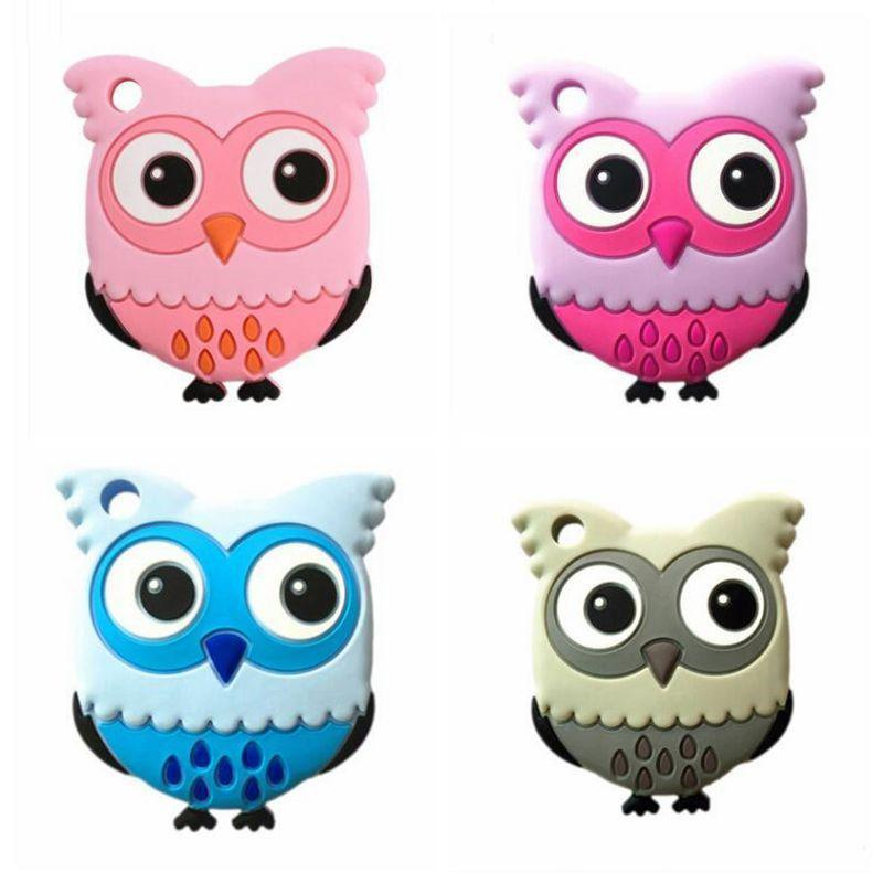 Chouette sucettes silicone Molar bâton Cartoon Owl Sucette Teether Teething la sécurité des enfants Bouchées dents bâton 4 couleur choisir CFYZ115