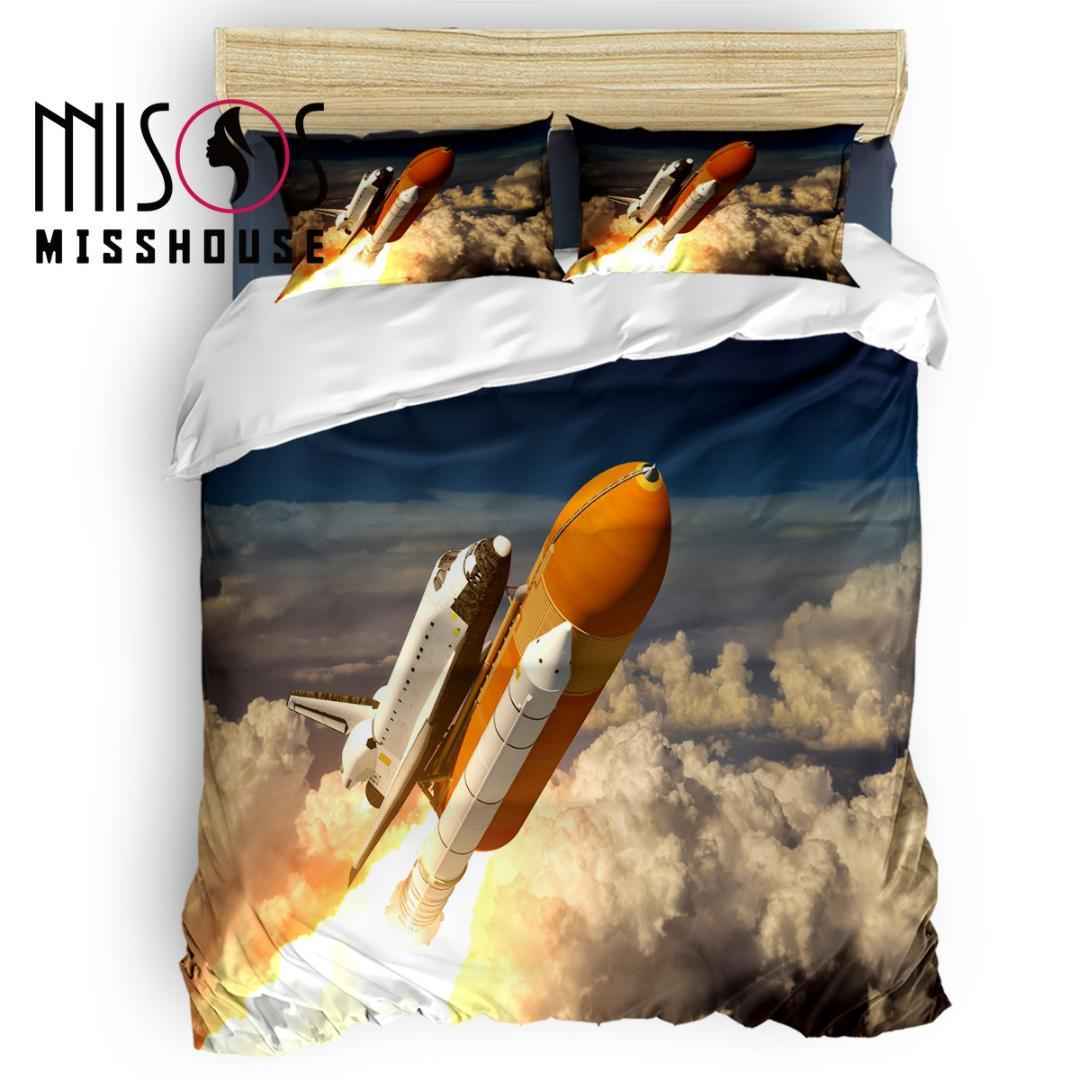 MISSHOUSE Space Shuttle Emissão Duvet Cover Set Lençóis Capa Consolador Fronhas 4pcs Conjuntos de Cama