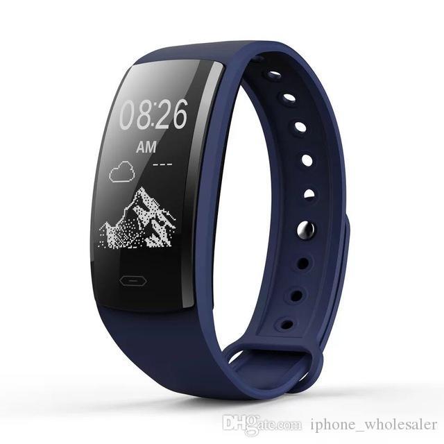 QS90 Akıllı bilezik izle kan basıncı nabız Akıllı saatler OLED ekran IP67 spor Izci iPhone için Smartwatch Android