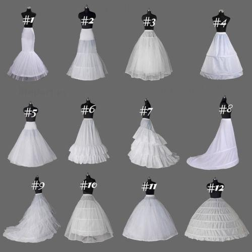 12 Style Blanc Crinoline/Jupon/Slips/Jupon Une Ligne / Sirène Cerceaux Robes De Mariée