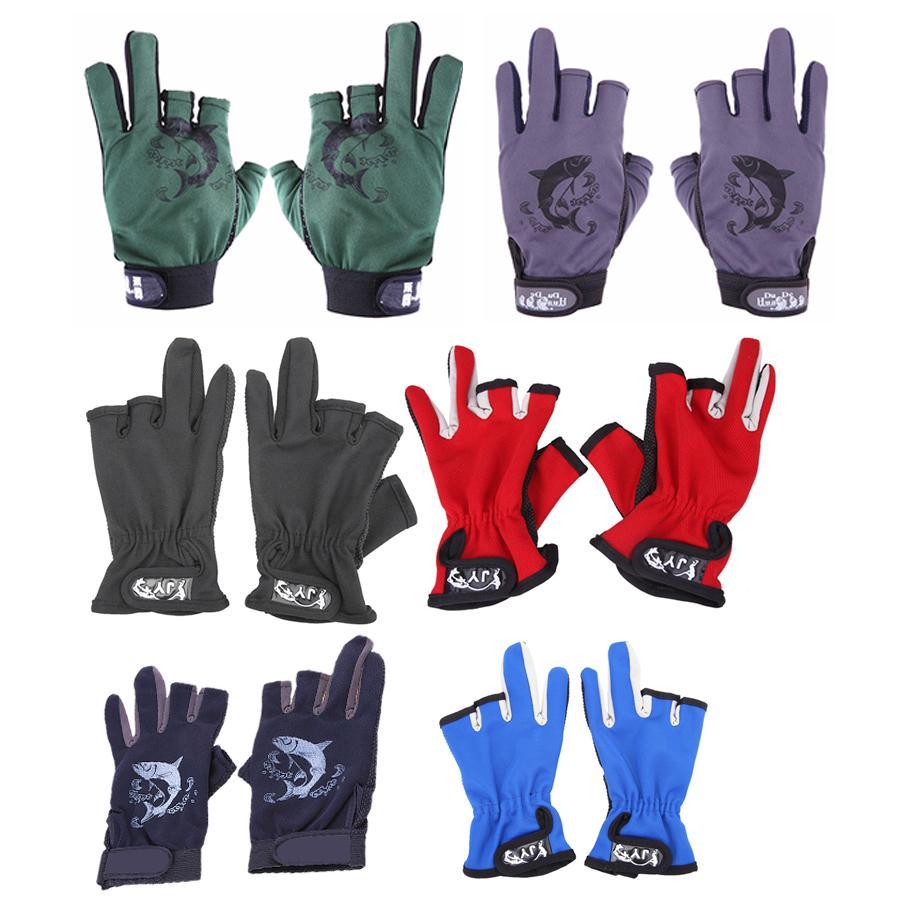 Enfrentar Boxes 3 Dedos Pesca Anti Slip Fingerless três dedos luvas de dedos Protector Skidproof Gloves Pesqueiro