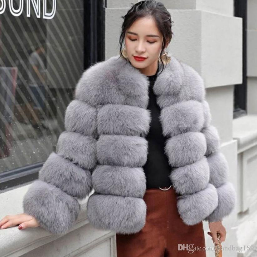Yeni Kış Coat Kadınlar Sahte Fox Kürk Artı boyutu Kadınlar Yaka Uzun Kollu Sahte kürk ceket kürk jile fourrure Standı