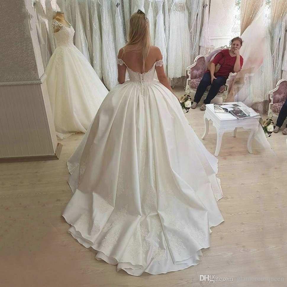 Скромное элегантное мяч слоновой кости свадебные платья милая атласная аппликация кружева белые свадебные платья с плеча промежуток поезда платье невесты
