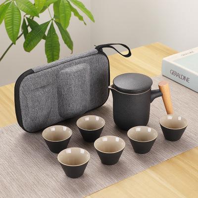 2019 7PCS/set 6cup+1pot Portable Keke Cup Japanese Ceramic Travel Kung Fu Tea Set with Bag Outdoor Car Tea Making Teapot