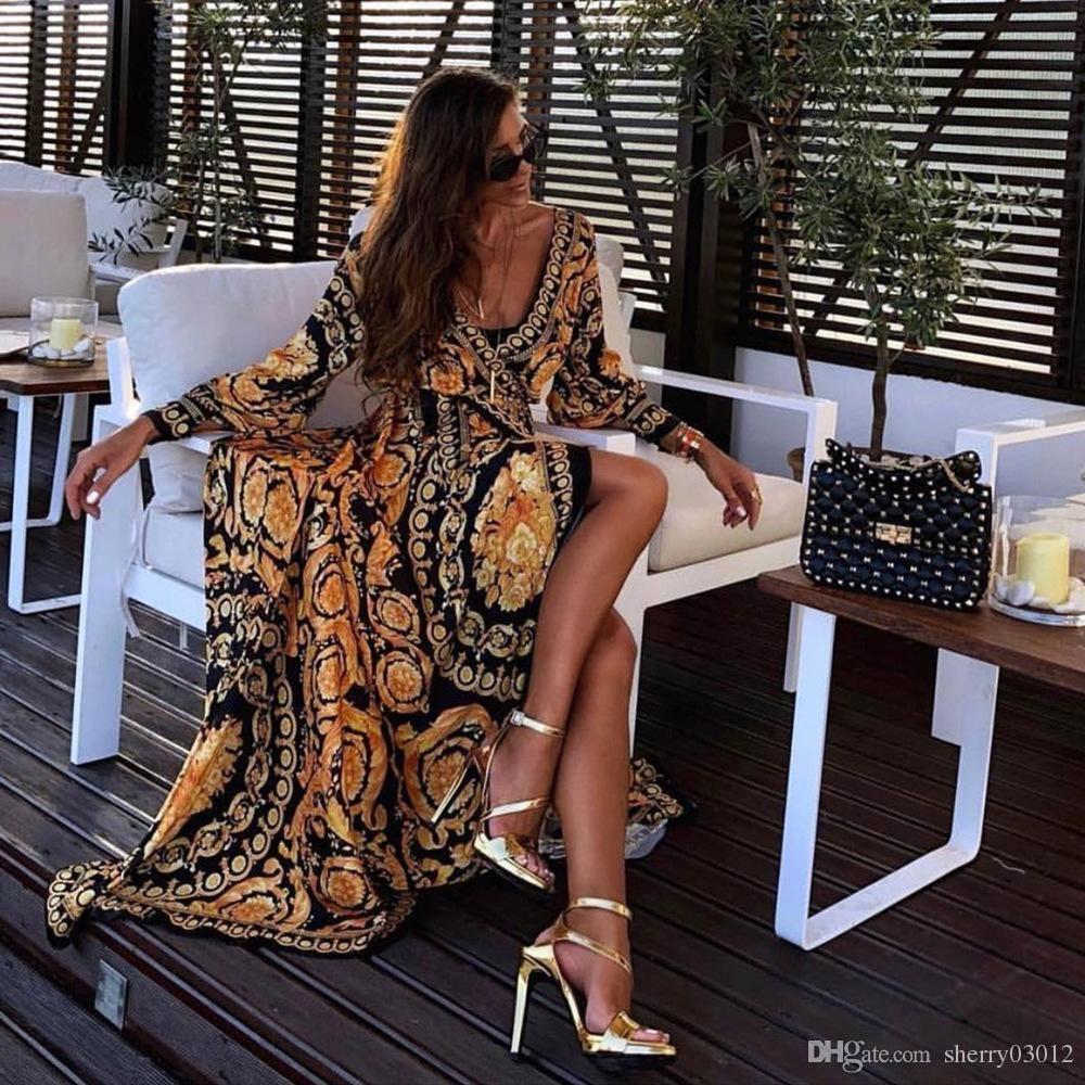 HISIMPLE 2019 Sommer-Hoch Split Maxi-Kleid-beiläufige Sun Langarm-Druck-Kleid Bohemian Ferienbodenlangen Afrikanische Frauen Art und Weise entwirft
