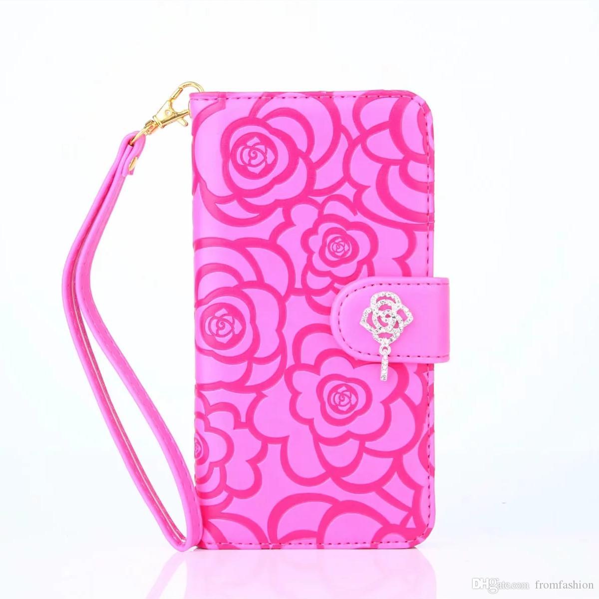 Diamant Kamelie Blume Flip Wallet Ledertasche für iPhone 11 Pro Max XS Max XR X 8 7 6 Plus Samsung Galaxy Note 10 9 8 S10E / 9/8 Plus
