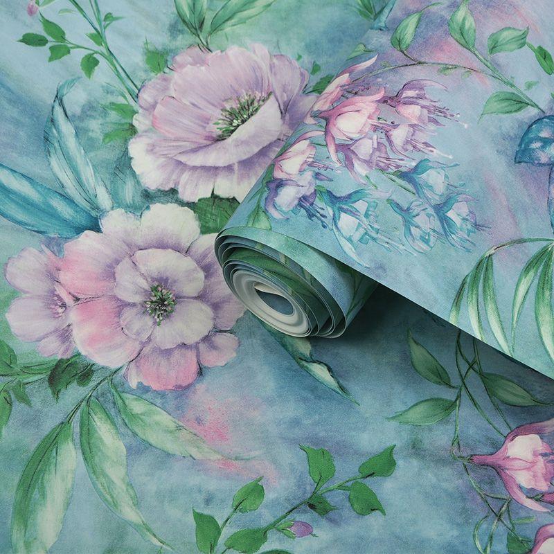 Wallpaper Nordic Flower Living Room Decor coreana pastorale floreale pittura a olio Camera Sfondo romantico Wall Paper verde