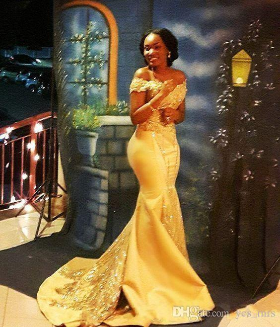 2020 New African Yellow Mermaid Prom Dresses Off Shoulder Satin Lace Appliques Crystal Beaded Sexy Arabic Long Party Evening Gowns Wear