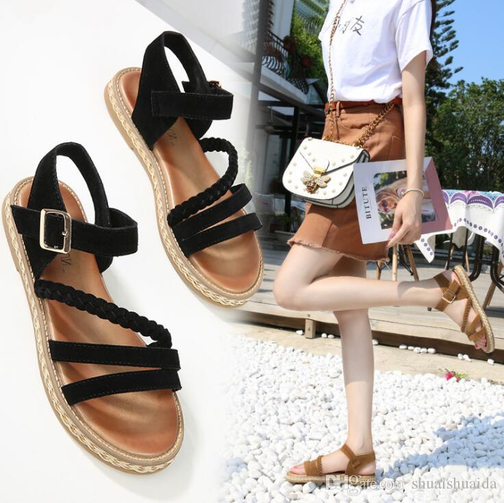 2019 Moda feminina sapatos casuais Sandálias de Verão Chinelo sapatos de Praia Preto / Marrom Mulheres sapatos de Trabalho / home Flat Heel tendão de carne de vaca A520-3