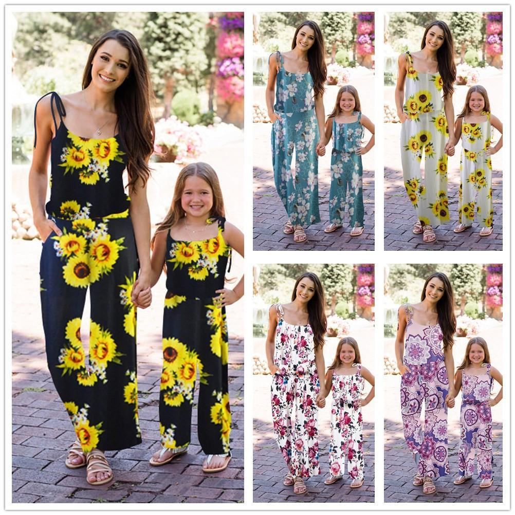 어머니 딸 점프 슈트 가족 일치하는 꽃 점프 수트 여름 소녀 여자 boho 느슨한 옷