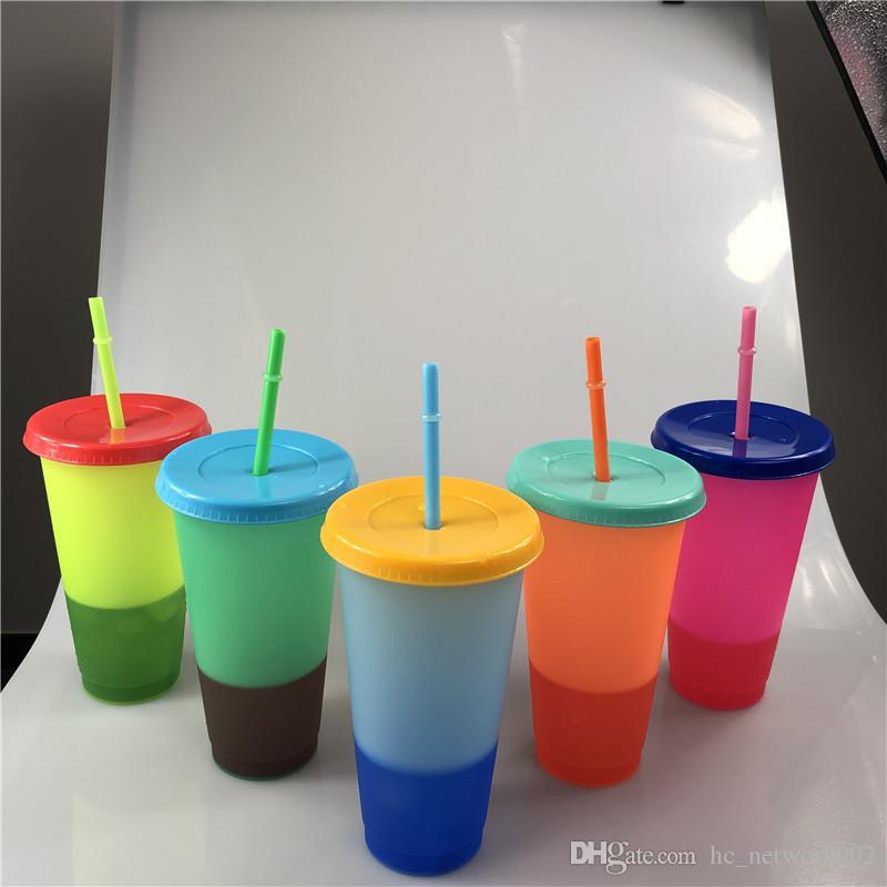 kapak ve saman 5 Renk Seçenekleri ile Kupa 17oz Termokromik fincan Renk değişimi PP Değişen Yeni Geliş Renk