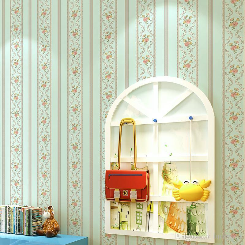 Europea 3D delicata floreale non tessuto carta da parati camera da letto caldo rurale soggiorno strisce verticali sala matrimonio romantico carta da parati
