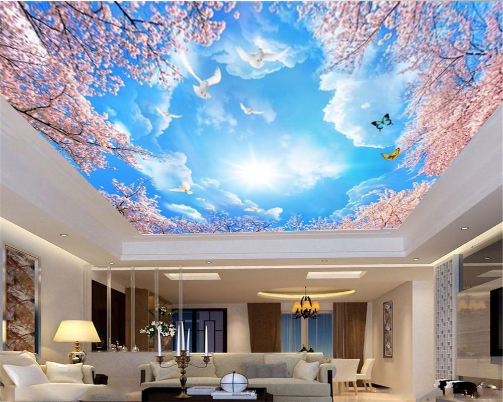 Fond d'écran 3D ciel rose Arbres Oiseaux Papillon bleu personnalisé haut de gamme Zenith soie murale Fond d'écran