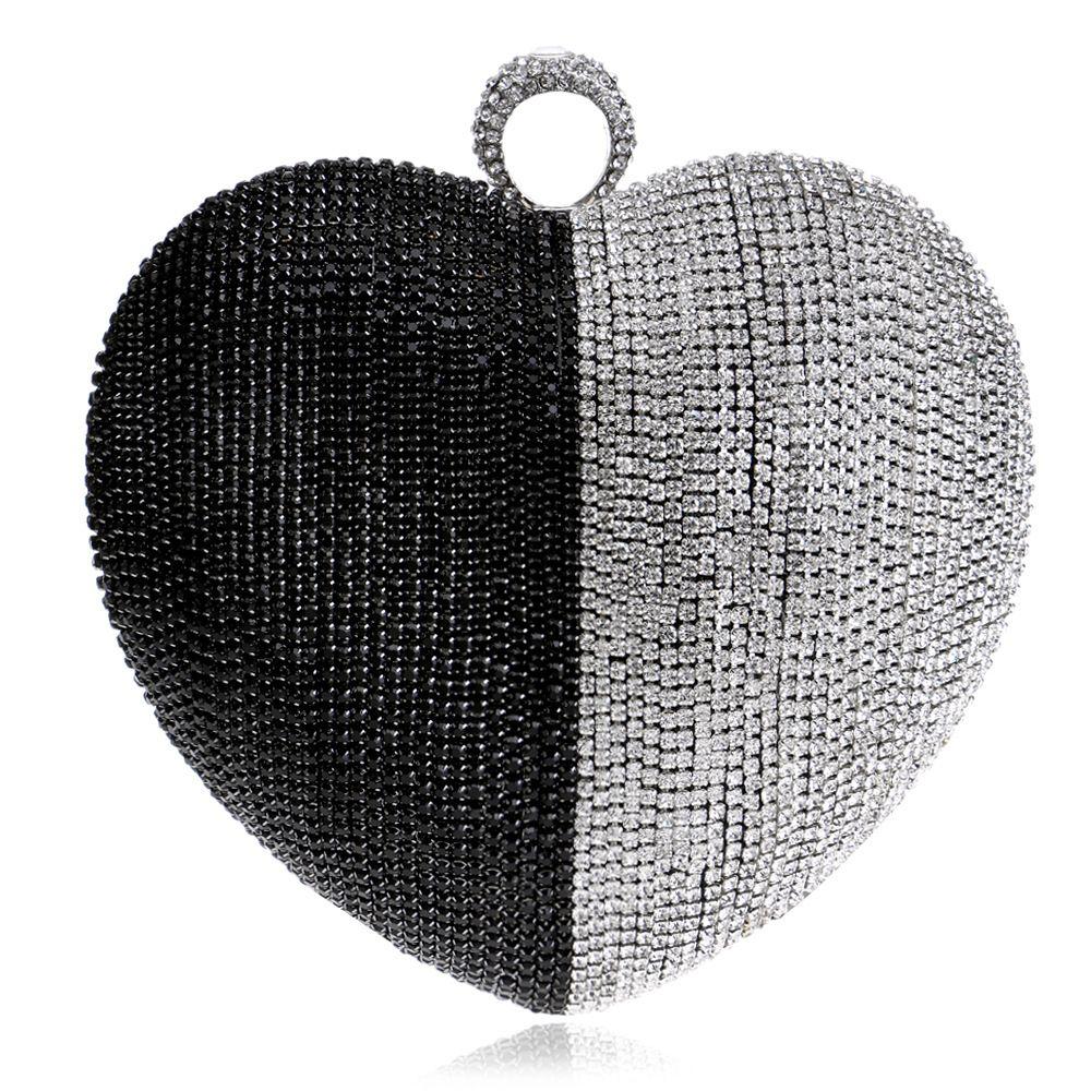 Dgrain Multi Schwarz Silber Frauen Kristall Tasche Abend Geldbörse Metall Herz Schminktäschchen Kupplungen Hochzeit Braut Diamant Handtasche Fingerverschluss